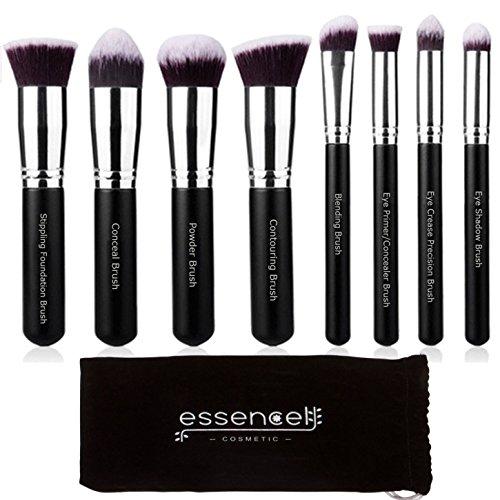 Essencell Pinceaux haut de gamme synthétique maquillage Kabuki Brush Set cosmétique - Fondation, poudre, mélange Blush Bronzer, Correcteur Contour, Kit Pinceau fard à paupières (8pcs, Noir Sliver)