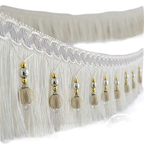 Yalulu 4 Yard x 3.9 Inch Braided Beads Hanging Ball Tassel Fringing Trimmings Fringe Trim Ribbon for Curtain Table Home Accessories DIY Decoration (White)