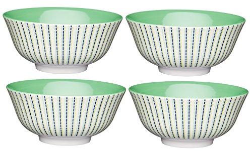 Kitchencraft à Pied marocain Stripe-Patterned Bols, 15.5 cm (15,2 cm) (Lot de 4), en CÉRAMIQUE, Multi/Couleur, 15.5 x 15.5 x 7.5 cm