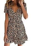 WOZNLOYE Donna Sexy V Collo Manica Corta Vestiti Sottile Corte Abiti a Pieghe Moda Leopardato Stampa Abito da Partito Festa Vestito da Spiaggia (XL, Cachi)