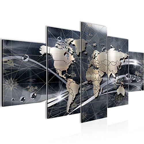 Runa Art - Quadri Mappa Del Mondo 200 x 100 cm 5 Pezzi XXL Decorazione Murale Design Grigio 106851c