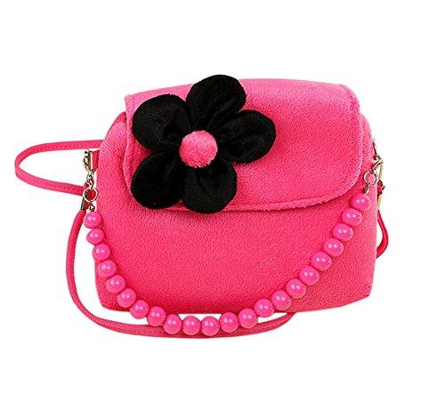drawihi Plush Satchel Bag Perlen Blume Kinder Kindergarten Mädchen Prinzessin Bebe-Tasche Handtasche