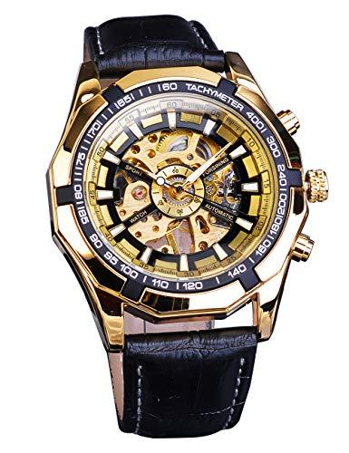 Forsining Klassische Sport-Armbanduhr mit Skelett-Uhr, schwarz, echtes Ledergürtel