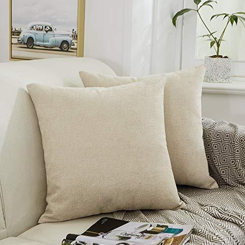 Mernette - Juego de 2 fundas de cojín cuadradas de felpilla, decoración para el hogar, sofá, cama, silla, Chenilla, beige, 40x40cm, 2 Pieces