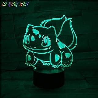 Tatapai lámpara de ilusión 3D luz de noche Led Pokemon Go Bulbasaur forma sala de estar atmósfera dormitorio niños lámpara de mesa Bulbasaur