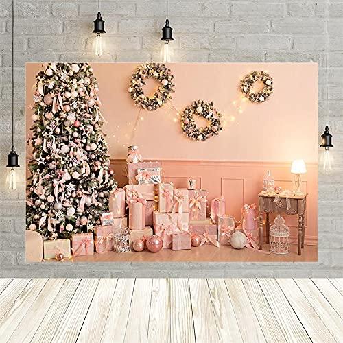 Fondo de fotografía de árbol de Navidad Regalo Rosa Guirnalda de Pared luz niñas Retrato decoración telón de Fondo para Estudio fotográfico Vinyl-250x180cm