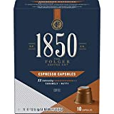 1850 by Folgers Coffee Espresso Medium-Dark Roast Coffee, 40 Count Capsules for Espresso Machines, 11 Intensity