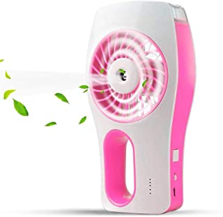 Allkeys Handheld Misting Fan, Mini USB Rechargeable Battery Operated Misting Fan, Portable Personal Fan with Spray Bottle, Small Water Spray Fan for Office, Home, Dorm, Outdoor and Travel, Pink
