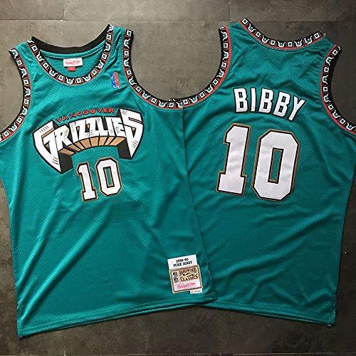 YB-DD Basketball-Trikots —Mitchell & Ness Memphis Grizzlies 10# Bibby 98 Vintage-Trikot Sommersport Genähte Buchstaben und Zahlen,2XL(190++cm)