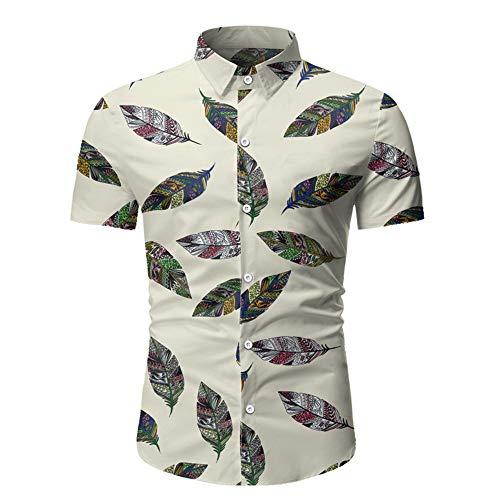 Camisa para hombre de primavera y verano para hombre, informal, manga corta, estampada, para hombre Blanco blanco 3XL