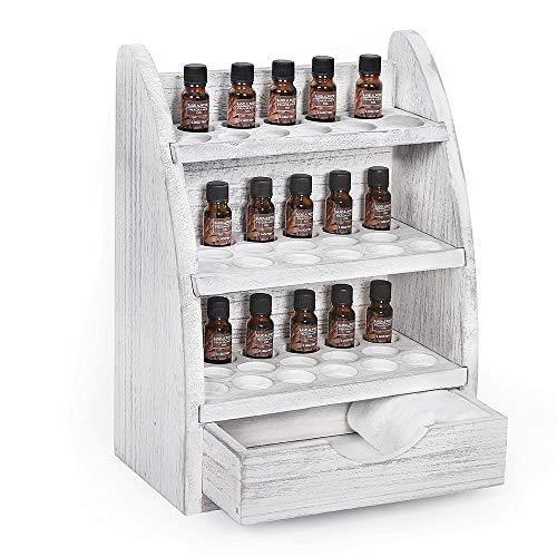 HAITRAL Ätherisches Öl Display Ständer Gestell Halter Organisator, 3 Etagen 45 Löcher und eine Schublade, Holz Box Veranstalter Aufbewahrung Speicher Box für Nagellack, Lippenstift, Ätherische Öle