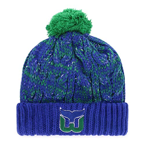 OTS NHL Hartford Whalers Women's Brilyn Cuff Knit Cap with Pom, Team Color, Women's