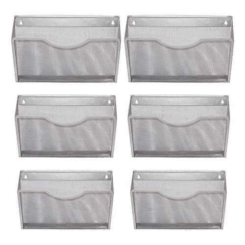EasyPAG Office Hanging Mesh Letter-Size Wall File Holder Organizer Single Vertical Collection Pocket Set Multi-Purpose Organizer Display Magazines Mail Sorter & Magazine Rack 6 Pack,Silver