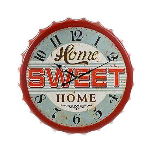 Cepewa Wanduhr Sweet Home American Diner 33 cm Retro Vintage Bar Pup Nostalgie USA Deko (1 x Wanduhr Sweet Home)
