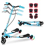 HIFRRUY Wiggle Scooter for Kids, 3 Wheels Y Flicker Scooter - Folding, Adjustable Handlebar, LED Light-Up Scooter with Protective Gear Set (Blue)