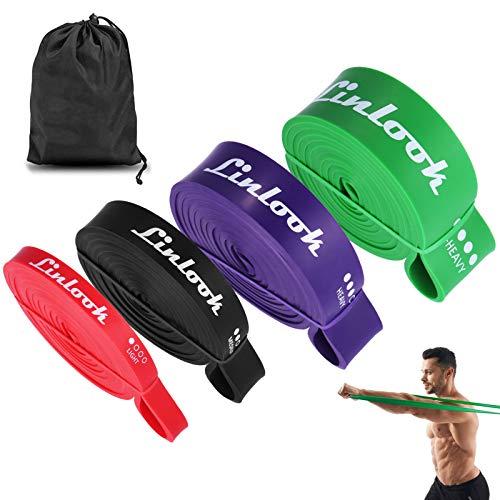 Linlook Resistance Band - Widerstandsband Gummibänder Set Fitnessbänder Gymnastikband Klimmzugbänder für Krafttraining & Fitness-Trainings-Bänder