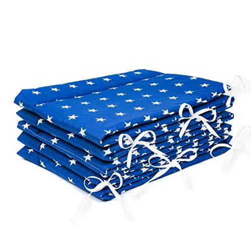 Paracolpi imbottito per lettini, con motivo a stelline, blu