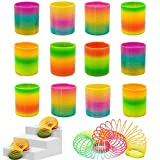 Rainbow Magic Spring, 12 PCS Colorful Rainbow Neon Plastic Spring Toy Party Supplies for Easter Gift toy,Easter Eggs Basket Stuffers Decorations for Boys Girls Kids Gift