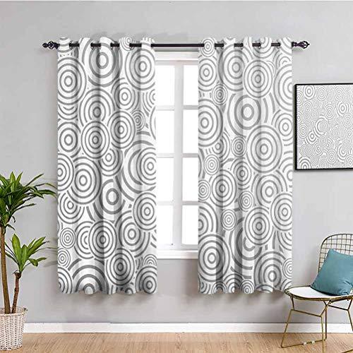 Cortina de aislamiento térmico oscurecido, con forma de anillo, rotativa, de color gris, para sala de estar o dormitorio, color blanco, de 42 x 63 pulgadas