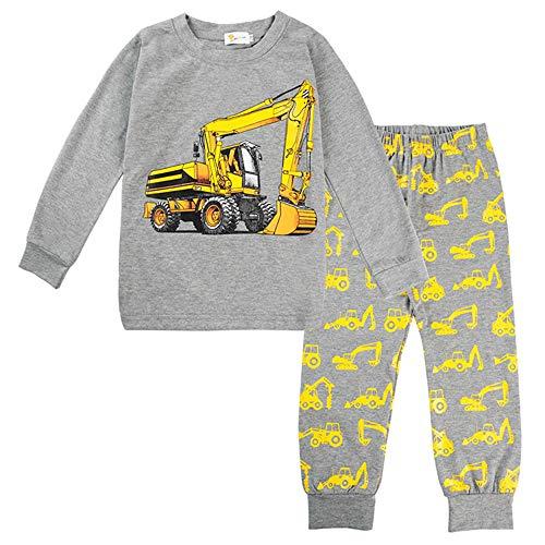 Wahyou® Jungen Feuerwehr Schlafanzüge Langarm Zweiteiliger Baumwolle Kinder Pyjama Zweiteiliger Bagger Nachtwäsche 90 92 98 104 100 110 116 122 120 130