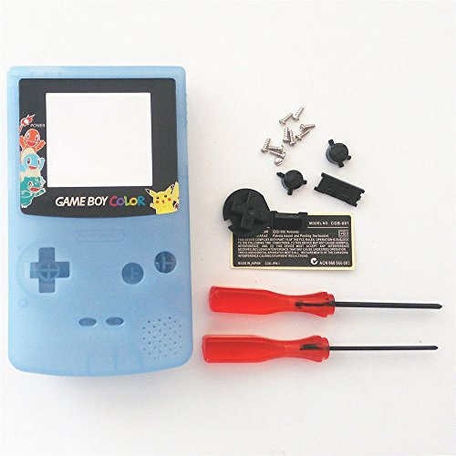 New Replacement Full Housing Shell Cover Case Pack Backlight Backlit for Nintendo Gameboy Color GBC Repair Part-Luminous Blue Edition