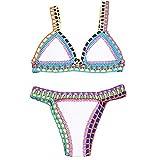 Casa Mujer Fuera el Cuello en v de Ganchillo Conjunto de Bikini de Punto Triángulo de Neopreno el Bikini Boho Dos Piezas de Traje de Croché Baño Beachwear