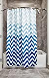 iDesign Chevron Fabric Shower Curtain, Modern Mildew-Resistant Bath Liner for Master, Kid's, Guest Bathroom, 72 x 72 Inches, Ombre Blue