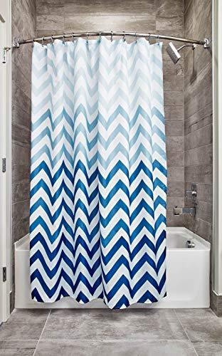 iDesign Ombre Chevron Textil Duschvorhang | 183 cm x 183 cm Vorhang aus Stoff mit Zickzackmuster | pflegeleichte Duschabtrennung für Badewanne und Duschwanne | Polyester blau