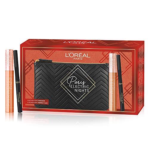 L'Oréal Paris ZIT40346 Makeup Cofanetto Idea Regalo Donna, Mascara Volumizzante Allungante Paradise Extatic e Eyeliner Nero Superliner Perfect Slim, Pochette 2 Pezzi