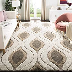 SAFAVIEH Florida Shag Collection SG461 Modern Ogee Non-Shedding Living Room Bedroom Dining Room Entryway Plush 1.2-inch Thick Area Rug, 5'3″ x 7'6″, Cream / Smoke