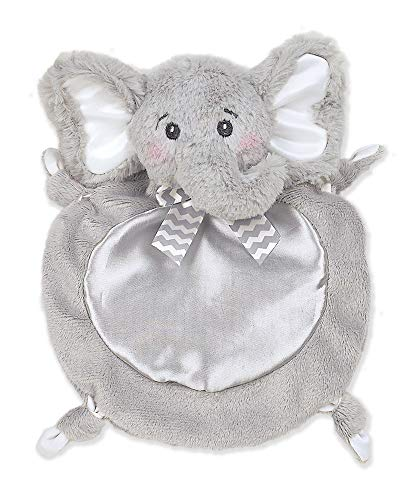 Bearington Baby Wee Spout, Small Gray Elephant Stuffed Animal Lovey Security Blanket, 8