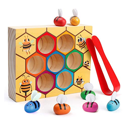 Toddler Fine Motor Skill Toy - Clamp Bee to Hive Matching Game - Montessori Wooden Color Sorting Early Learning Preschool Educational Gift Toys for 2 3 4 Years Old Kids