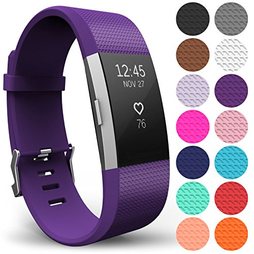 Yousave Accessories Armband Kompatibel mit Fitbit Charge 2, Ersatz Fitness Armband und Uhrenarmband, Silikon Sportarmband und Fitnessband, Wristband Armbänder für Fitbit Charge2 - Klein, Pflaume