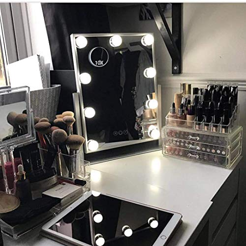 Hansong Hollywood Mirror with Light,Large Lighted Vanity Makeup Mirror ,Smart Touch Control 3 Colors Dimable Light Detachable 10X Magnification 360°Rotation(White)