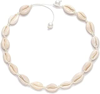 Cowrie Shell Necklace, Women's Natural Cowrie Shell Choker White Glossy Small Shell Choker with Pearl, Sea Gypsy