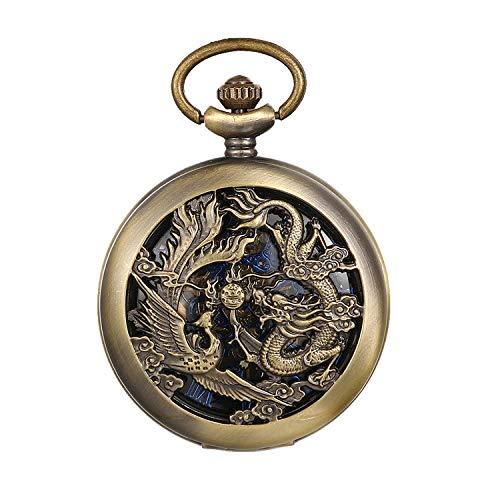 JewelryWe Taschenuhr Automatik Mechanische Herren Antik Drache und Phönix Römischen Ziffern Steampunk Skelett Uhr mit Kette