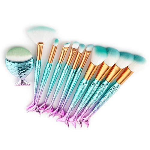 Make-up kwastenset 11 stuks waaiervormige foundation poeder blush oogschaduw eyeliner kwast aluminium tube nylon haar
