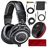Audio Technica ATH-M50X Monitor Headphones (Black) Professional Kit, with Carrying Case, Fibertique Cleaning Cloth and 3 Cables – For DJs, Studio Recording and Listening
