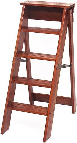 GAIXIA-Tabouret échelle tabouret escabeau en bois rabattable 5 couche échelle petite échelle échelle simple tabouret de levage multi-fonction chaise d'escalier intérieur famille repose-pieds