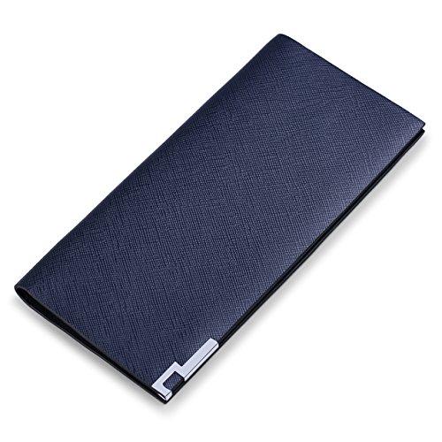 WILLIAMPOLO Lange Brieftasche Echtes Leder Slim Kreditkarte Geldklammer (Blau)