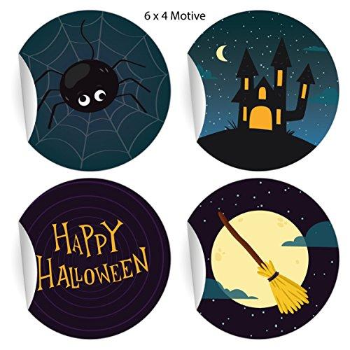 24 coole Halloweenstickers om te griezelen met spin en heksenbezem Happy Halloween, blauw, mat, universele papieren stickers ook voor geschenken, etiketten voor tafeldecoratie, pakketten, brieven en meer (Ø 45mm