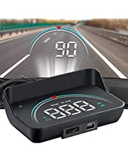 HUD Display, lesgos Vehicle Speedometer Head Up Display with Hood, Speed Warning HUD Projector for Cars and Trucks with OBD II or EUOBD