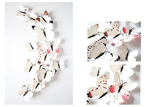 Frolahouse 24 piezas 3D ViviD especial animada mariposa decoración DIY pegatinas de pared pegatinas decoración guardería decoración cuarto de baño, decoración de oficina, arte de pared 3D, manualidades 3D para arte de pared, habitación de KiD, sala de estar