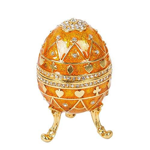 qifu-hand bemalt Fabergé Ei-Stil Dekorative Scharnier Schmuck Schmuckkästchen Einzigartiges Geschenk für Home Decor