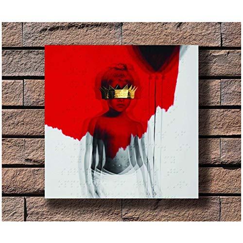 chtshjdtb Rihanna Popmusik Deluxe Cover Anti Star Print Wandkunst Poster und Drucke Leinwand Malerei Home Decoration -24X24 Zoll No Frame 1 Pcs