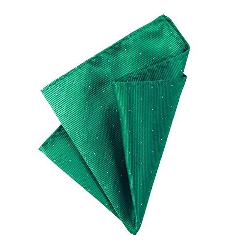 DonDon Herren Hanky 25 x 25 cm edles Einstecktuch für feierliche und besondere Anlässe grün mit silbernen Punkten