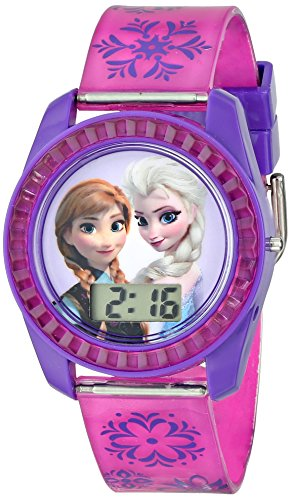 Disney's Frozen Kids' Digital Watch with Elsa and Anna on the Dial, Purple Casing, Comfortable Pink Strap, Easy to Buckle, Safe for Children - Model: FZN3598