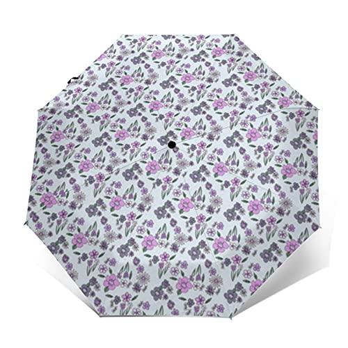 Paraguas compacto de viaje a prueba de viento paraguas primavera floral bebé Swaddle patrón flores púrpura luz reforzada toldo auto abierto y cierre botón