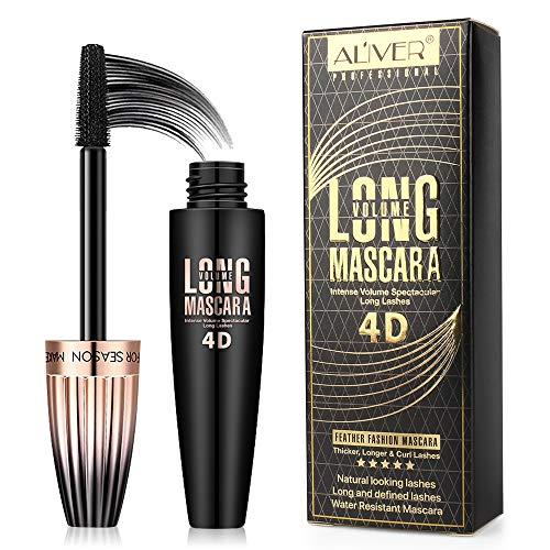 4D Silk Fiber Eyelash Mascara, Aliver Mascara Ciglia Extra Volume, Impermeabile Lunga Durata Di Estensione Lungo Ciglia Mascara, 4D Fiber Lashes, Più lunga, Più spessa,Nero
