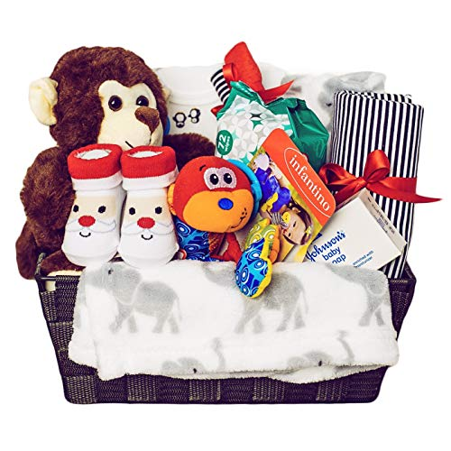 Baby Boy First Christmas 2020 Gift Basket - Newborn Essentials Baby Gift Set Great for Baby Shower and Welcome Baby Home - Baby Boys Gifts